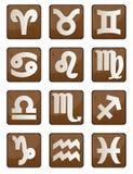 ikony drewna zodiak Obrazy Stock