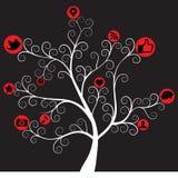ikony drzewo medialny ogólnospołeczny Zdjęcia Royalty Free