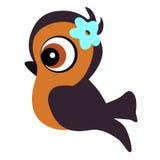 Ikony dziecka śliczny ptak w kreskówka stylu na białym tle wektor Zdjęcie Stock