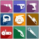Ikony elektryczni narzędzia Fotografia Royalty Free