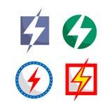 Ikony elektryczność w różnych kolorach royalty ilustracja