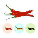 Ikony gorącego chili pieprz Fotografia Royalty Free