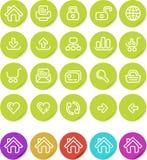 ikony internetów równiny ustalona majcherów strona internetowa ilustracja wektor
