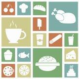 Ikony jedzenia kolaż Obrazy Stock