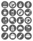 Ikony kuchnie, restauracja, kawiarnia, jedzenie, napoje, naczynia, monochrom, mieszkanie Obrazy Stock