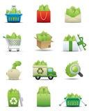 ikony liść premii oszczędzania serie ustawiają Ilustracji