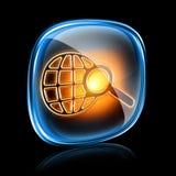 ikony magnifier neon Obrazy Stock