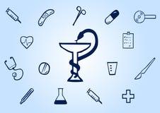 Ikony medyczny rysujący ręką na błękicie Obrazy Royalty Free