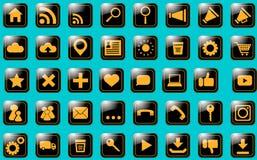 Ikony miejsca pomarańcze na czerni Obrazy Royalty Free