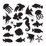 Ikony morski życie Obrazy Royalty Free