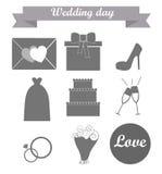 Ikony na ślubnym temacie ilustracja wektor