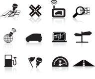 ikony nawigaci drogowa ustalona podróż ilustracji