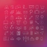 49 ikony nowożytny kreskowy set Zdjęcie Royalty Free