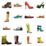 Ikony obuwia mężczyzna i kobieta buty w mieszkaniu projektują Wektorowy wizerunek z czarnym uderzeniem Element projekt, interfejs Zdjęcie Stock