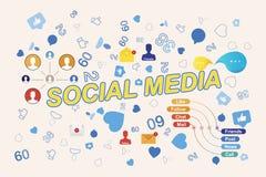 Ikony ogólnospołeczne sieci i symbole powiadomienia Płaska ilustracja Eps 10 royalty ilustracja