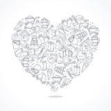 Ikony ogrodowi narzędzia w postaci wielkiego serca ilustracja wektor