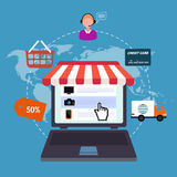 Ikony online sklep sprzedaż internet Mieszkanie styl Zdjęcia Royalty Free
