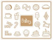 Ikony piekarni jedzenie Zdjęcie Royalty Free