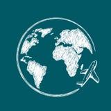 Ikony podróż Samolotowy lata wokoło ziemskiej planety fotografia stock