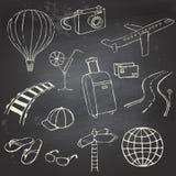 Ikony podróż na blackboard Obraz Royalty Free