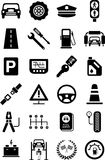 Ikony pojazd mechaniczny, ruch drogowy & machinalny Obraz Stock