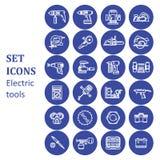 Ikony różnorodni elektryczni narzędzia Zdjęcia Royalty Free