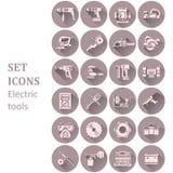 Ikony różnorodni elektryczni narzędzia Obraz Stock