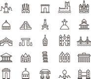 Ikony sławni zabytki royalty ilustracja