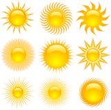 ikony słońce Zdjęcia Stock