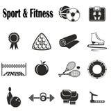 Ikony sprawność fizyczna i sport Zdjęcia Stock