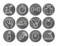 Ikony sprawność fizyczna, gym, zdrowy styl życia, biały kontur, czarny tło, round Fotografia Stock