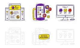 Ikony strona internetowa, zastosowanie i monitor w wektorze na białym bac, Fotografia Stock