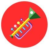 Ikony trąbka zabawki w mieszkanie stylu Wektorowy wizerunek na round barwionym tle Element projekt, interfejs Obraz Royalty Free