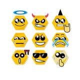 Ikony twarzy sześciokąt Zdjęcia Stock