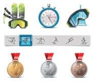 ikony ustalony narciarstwa wektor Zdjęcie Stock