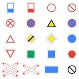 Ikony ustawiać drogowi znaki i znaki na białym tle Obrazy Royalty Free