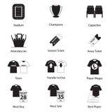 Ikony ustawiać futbol lub piłka nożna w płaskim projekcie dla futbolowy infographic wektor Obraz Royalty Free