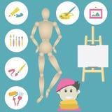 Ikony ustawiać kolorowe sztuk dostawy dla malować Obraz Stock