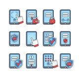 Ikony ustawiać mobilna ochrona Smartphone ochrony pojęcie Hasło kędziorek na smartphone i klucz Znaki ochraniać telefon Zdjęcie Stock