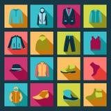 Ikony ustawiać moda elementów mężczyzna odzież Fotografia Stock