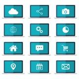 Ikony ustawiać na laptopu ekranie Płaska wektorowa ilustracja Zdjęcie Stock