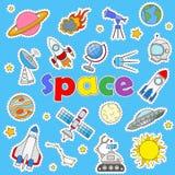 Ikony ustawiać na temat lota kosmicznego i astronomii, malować ikon łaty na błękitnym tle Obrazy Stock