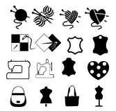ikony ustawiać o szyć i dziać Zdjęcia Royalty Free