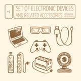 Ikony ustawiać urządzenia elektroniczne Obrazy Royalty Free