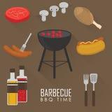 Ikony ustawiać grilla grill ilustracja wektor