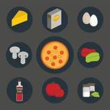 Ikony ustawiać proces kulinarna pizza ilustracja wektor