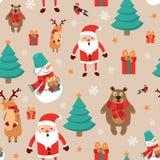 Ikony ustawiają bożych narodzeń i nowego roku bezszwową deseniową ilustrację Dodatkowi prezenty, bałwan, choinka, Święty Mikołaj, Zdjęcia Stock