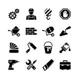 Ikony ustawiają - budynek, budowa, narzędzia, naprawa royalty ilustracja