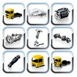 ikony ustawiają części zapasowych ciężarówki wektor Zdjęcie Royalty Free