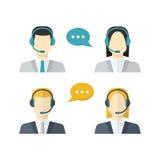 Ikony ustawiają Męskiego i żeńscy centrów telefonicznych avatars w mieszkaniu projektują ilustracji